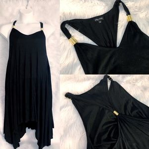 City Chic Black Handkerchief Dress with Gold